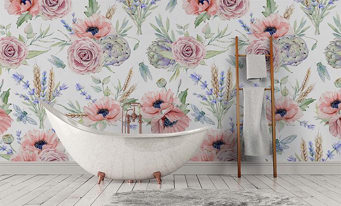 Fototapeta do łazienki kwiaty