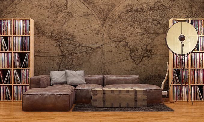 Fototapeta mapa świata w stylu kolonialnym