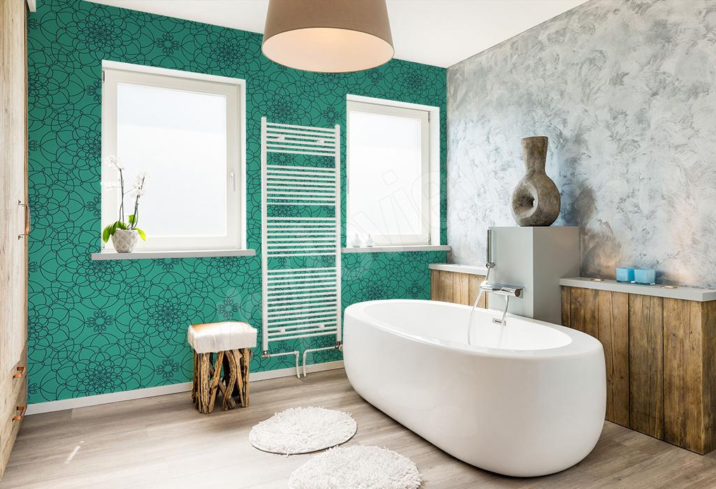 Fototapeta do łazienki zielona z kwiatami