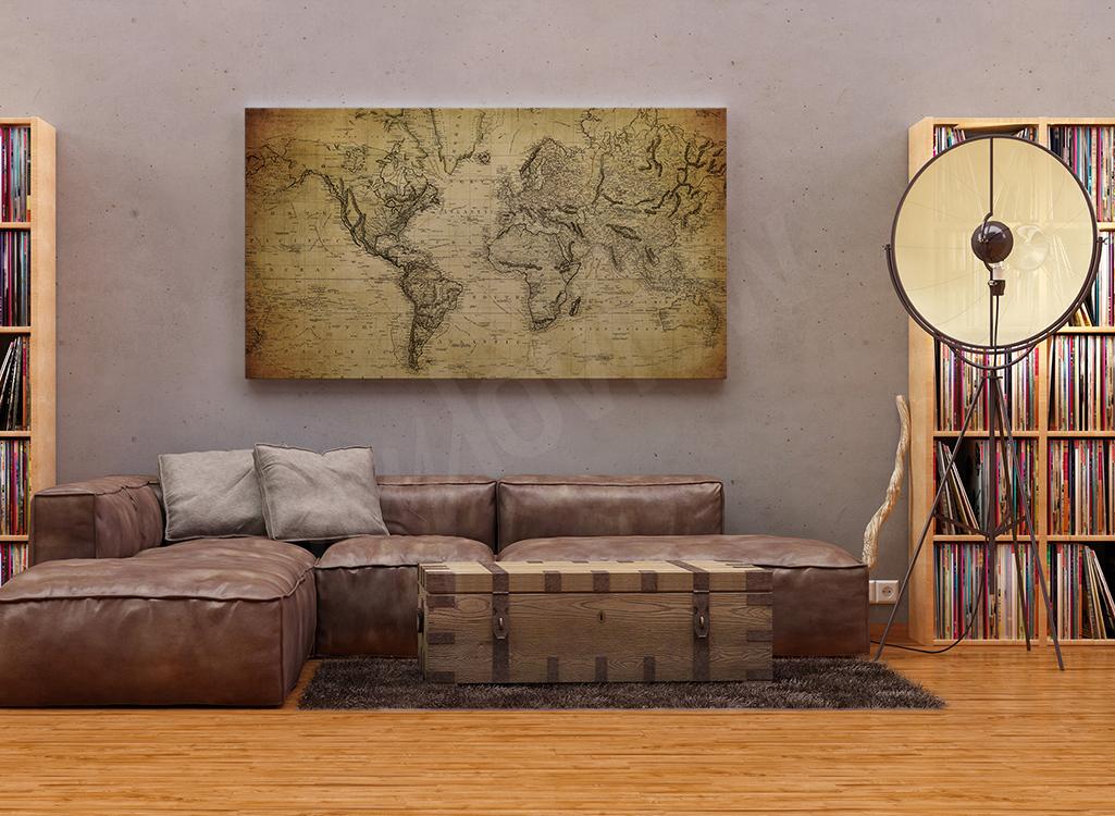 Obraz do salonu vintage mapa świata