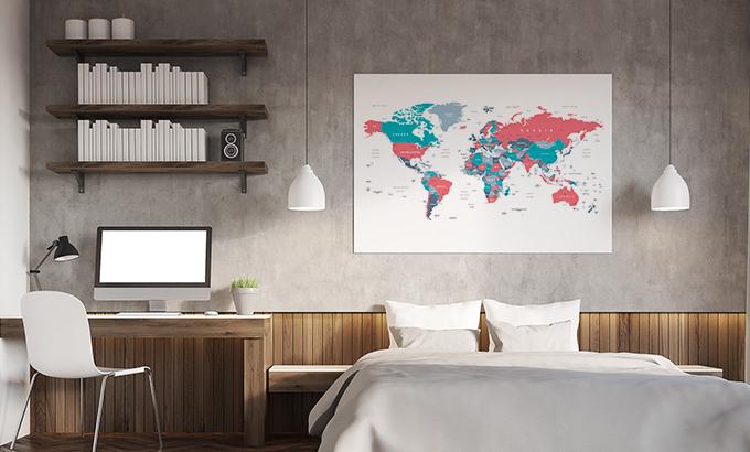 Plakat mapa świata dla podróżnika