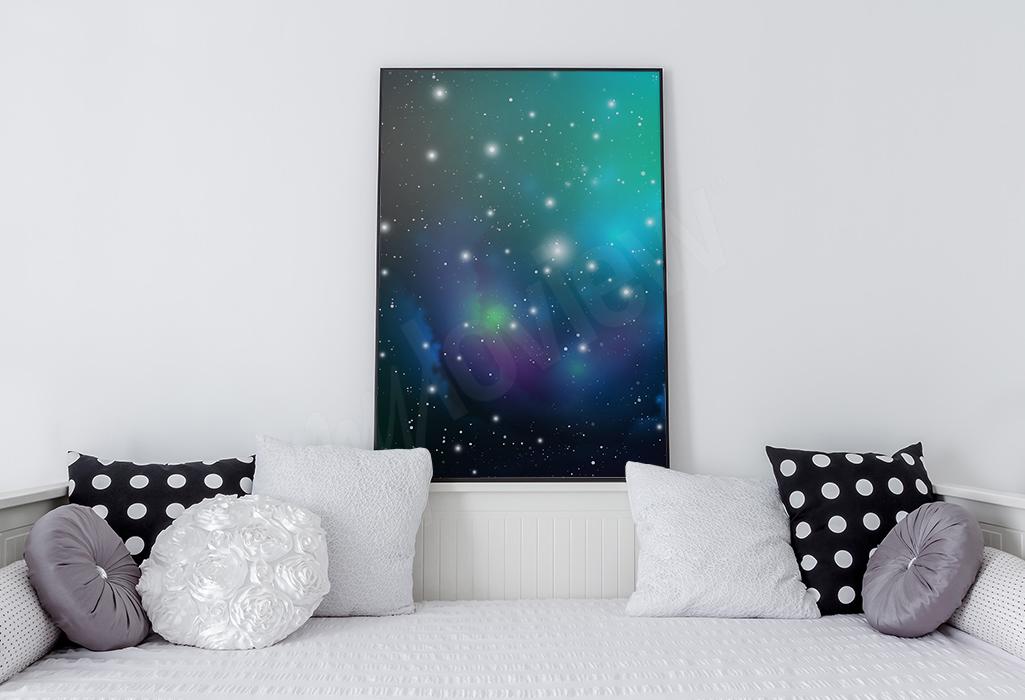 Plakat z kosmosem i gwiazdami