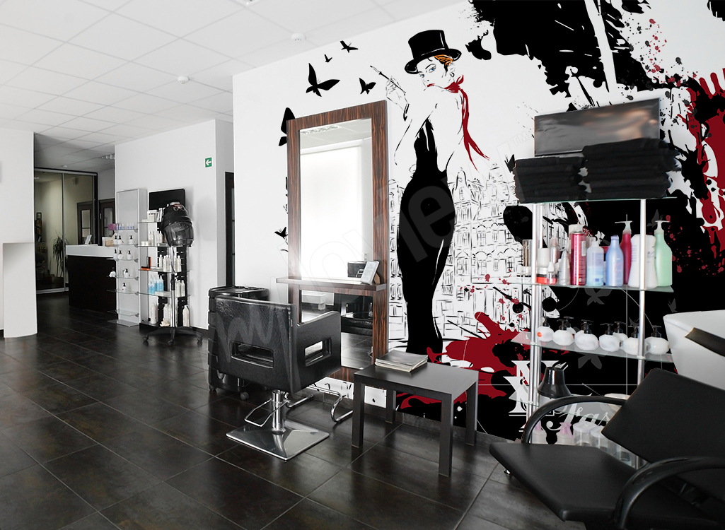 Fototapeta do salonu fryzjerskiego z kobietą