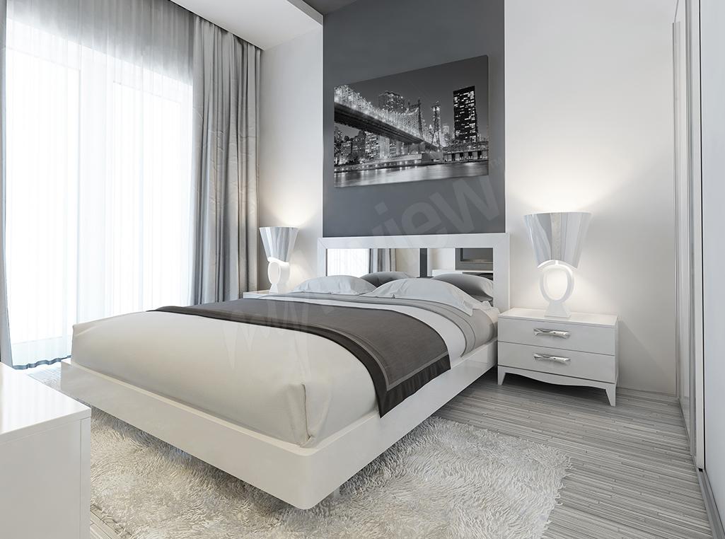 obraz do sypialni z czarno-białym mostem