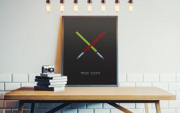 plakat miecze świetlne Star Wars