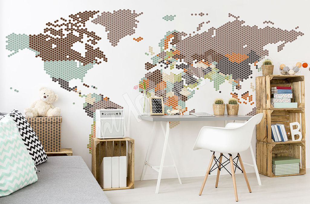 naklejka ścienna mapa świata