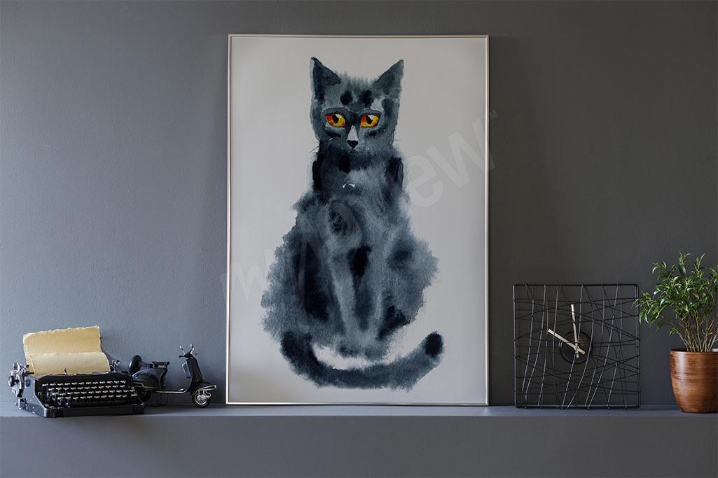 Plakat czarny kot