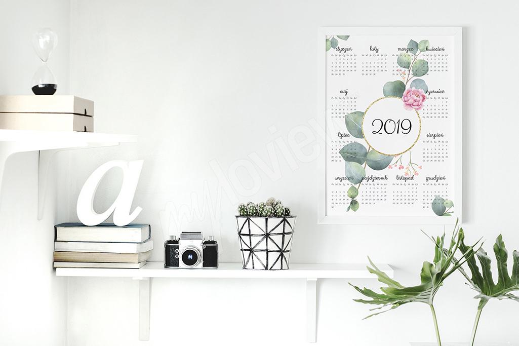 Kalendarz plakatowy z liśćmi
