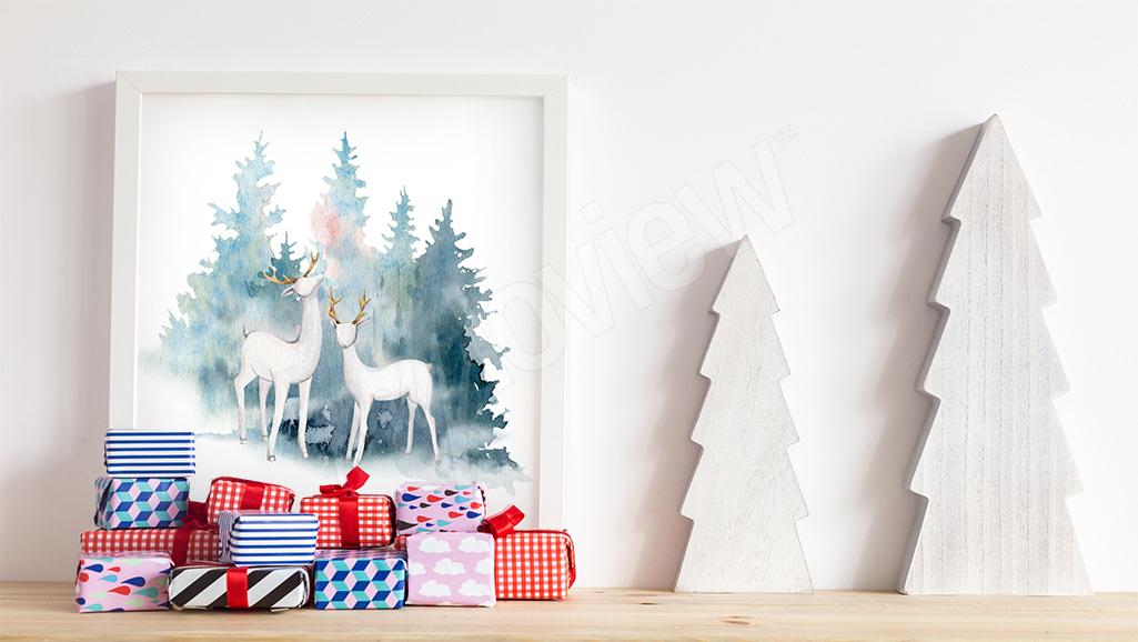 Obraz białe jelenie