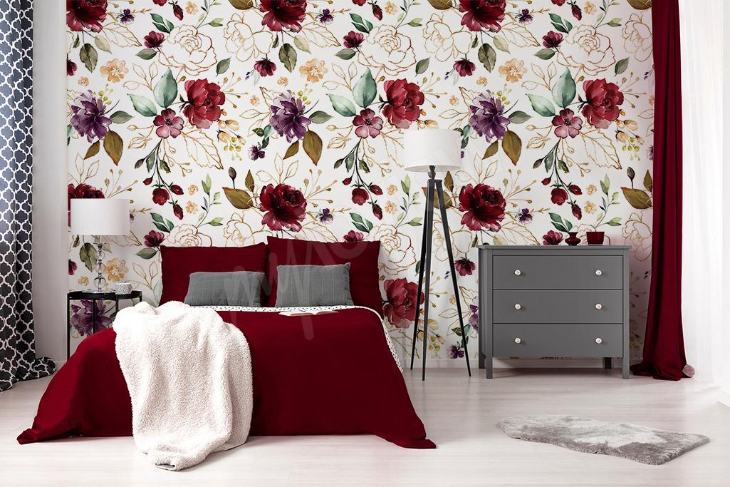 Floralna fototapeta w odcieniach burgundu
