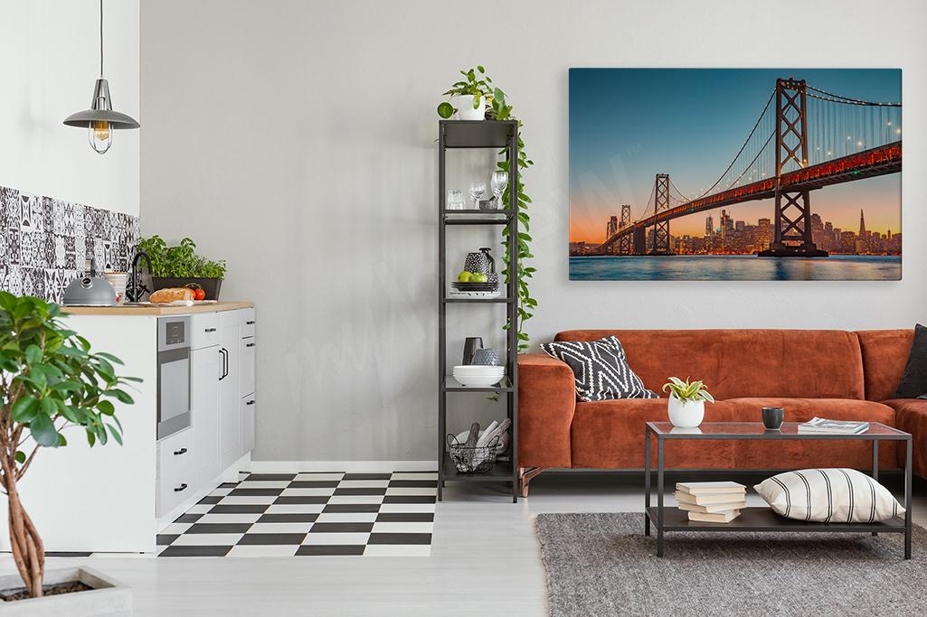 Obraz z panoramą San Francisco - przestrzenna dekoracja, która delikatnie powiększy metraż