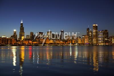 Fototapeta Chicago Skyline at dusk