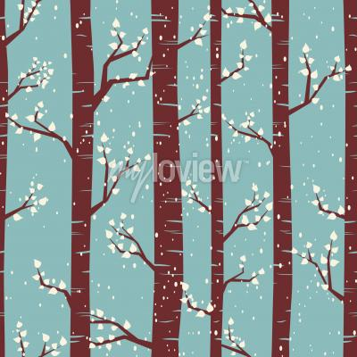 Fototapeta Seamless tiling pattern with birches under the snowfall