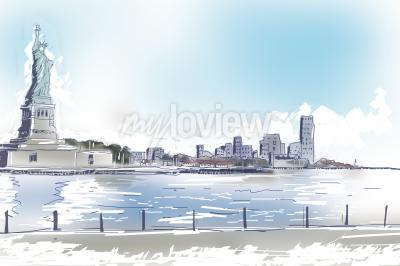 Obraz Line art illustration of the Statue of Liberty and downtown New York City on a bright blue sunny day. Travel and tourism concept