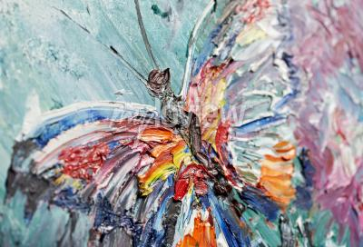 Obraz Closeup fragment of oil painting butterfly