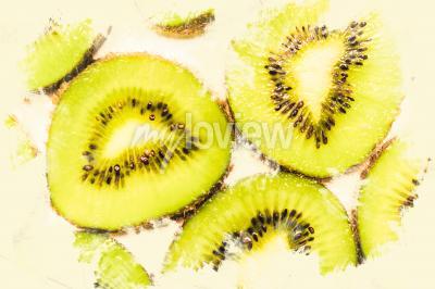 Obraz Creative food art on slices of kiwi fruit
