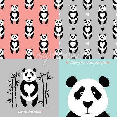 Fototapeta Panda bear set