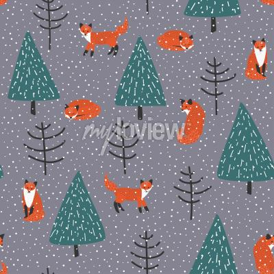 Obraz Foxes in winter forest vector seamless pattern