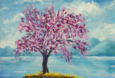 Obraz Blooming sakura on water oil painting