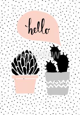 Obraz Hand drawn cactus plants and speech bubble