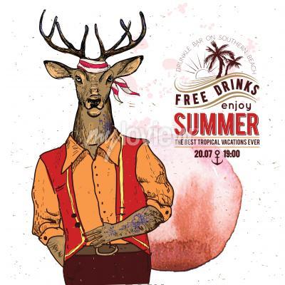 Plakat Illustration of pirate deer on textured background