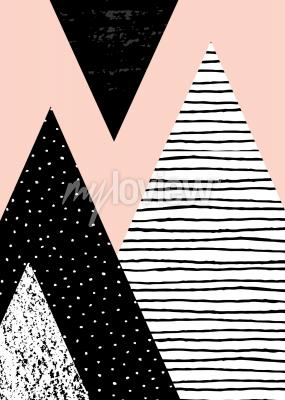 Abstract geometric composition in black white and pastel pink