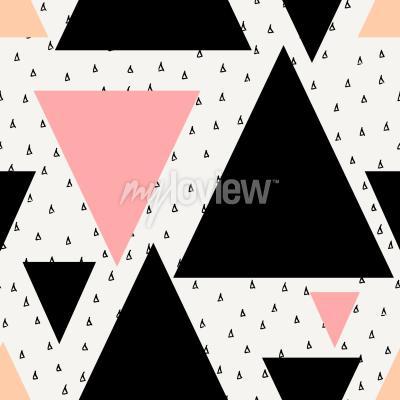 Fototapeta Abstract geometric seamless repeat pattern in black cream pastel pink and orange