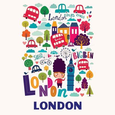 Fototapeta pattern with London symbols