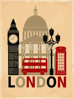 Plakat Retro style poster with London symbols and landmarks