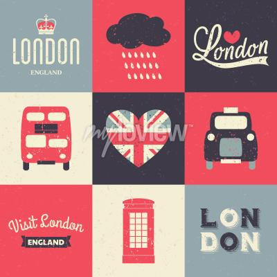 Plakat A set of vintage style greeting cards with London symbols