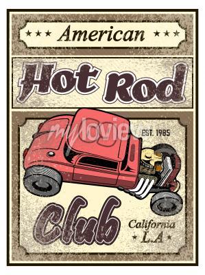 Plakat Hot rod custom car poster
