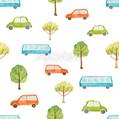 Watercolor seamless pattern car bus and trees