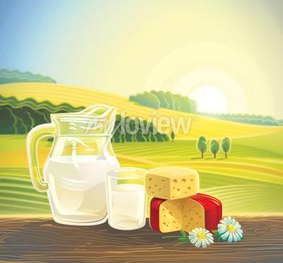 Plakat Rural landscape with set of dairy products