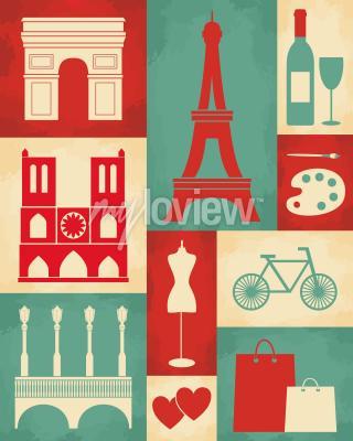 Fototapeta Retro style poster with Paris symbols and landmarks