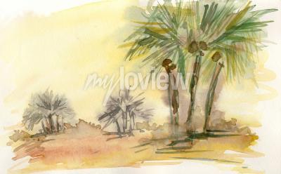 Fototapeta In the desert 6 watercolor painting