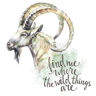 Obraz Watercolor goat with handwritten inspiration phrase