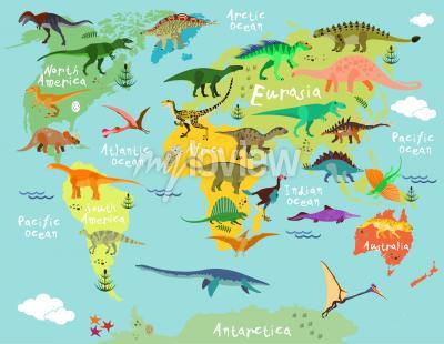 Fototapeta Dinosaurs map of the world for children and kids