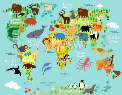 Fototapeta Animal map of the world for children and kids