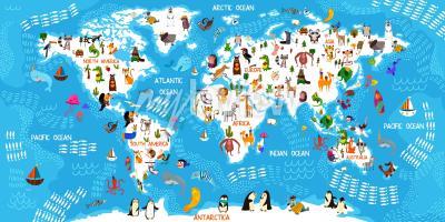 Fototapeta Cartoon animal world map