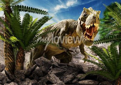 Fototapeta Scene of the giant dinosaur destroy the park