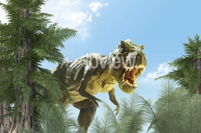 Fototapeta dinosaur in the jungle background 3D render