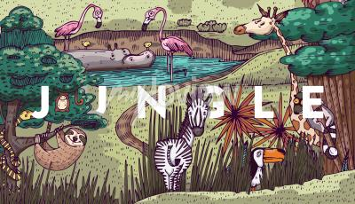 Fototapeta Wild life in jungle with different animals