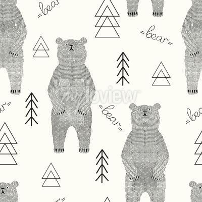 Tapeta Bear pattern of strokes in the forest
