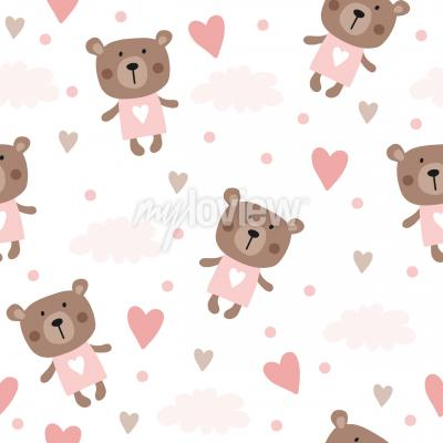 Tapeta seamless teddy bear pattern vector pattern