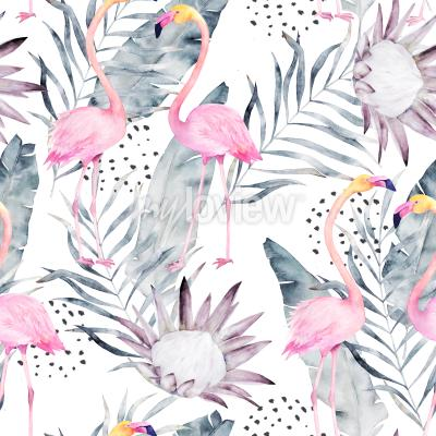 Tapeta Abstract tropical pattern with flamingo
