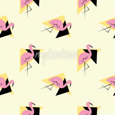 Tapeta Flamingo pattern triangle pattern seamless pattern vector illustration