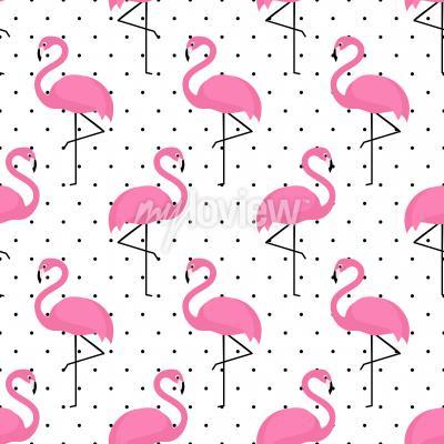 Tapeta Flamingo seamless pattern on polka dots background