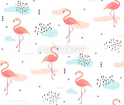 Tapeta Seamless pattern with pink flamingos