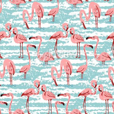 Tapeta Repeating pattern with pink flamingo and hand drawn background in modern style