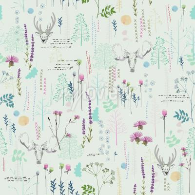 Seamless pattern with trees shrubs foliage deer elk animals on light background in vintage styl